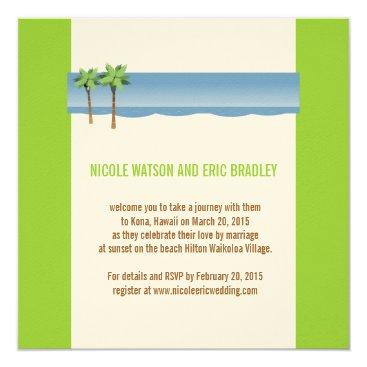 Beach Themed Beach Wedding Invitations Palm Trees Cream Green