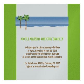 Beach Wedding Invitations Palm Trees Silver