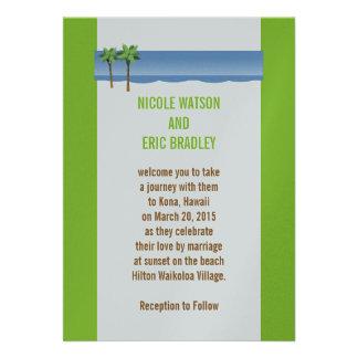 Beach Wedding Invitations Palm Trees Silver Paper