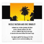 Beach Wedding Invitations Sunset Palm Trees