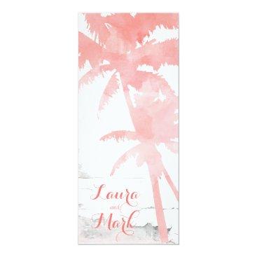 Beach Themed Beach Wedding Invite Coral Palm Trees Wood