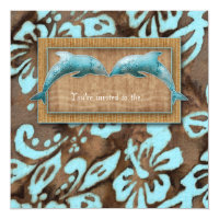 Beach Wedding Invite Dolphin Luau Party Blue