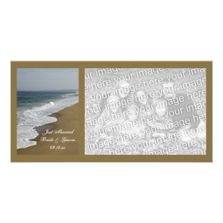 Beach Wedding Just Married Photo Card
