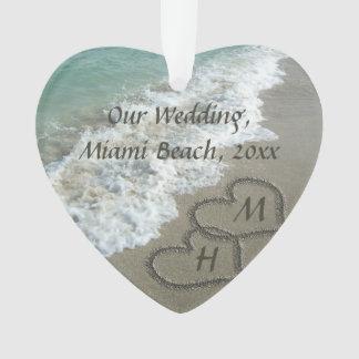 Beach Wedding Keepsake Interlocking Hearts Ornament