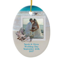Beach Wedding Keepsake Photo Ornament