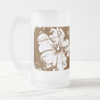Beach Wedding Luau Grunge Hibiscus Chocolate Brown Frosted Glass Beer Mug