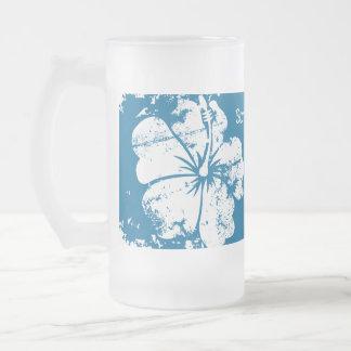 Beach Wedding Luau Grunge Hibiscus Pink 16 Oz Frosted Glass Beer Mug