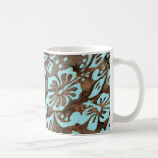 Beach Wedding Luau Hibiscus Mug Blue Brown