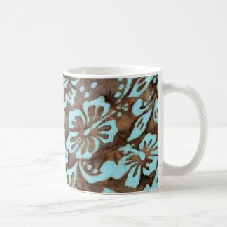 Beach Wedding Luau Hibiscus Mug Blue Brown