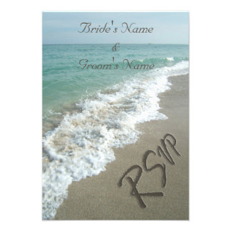 Beach Wedding Matching RSVP Sand Writing Invite