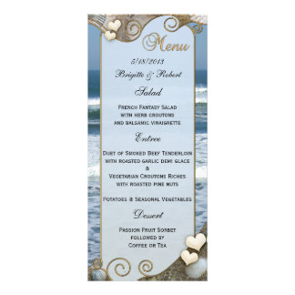 Beach Wedding Menu Card