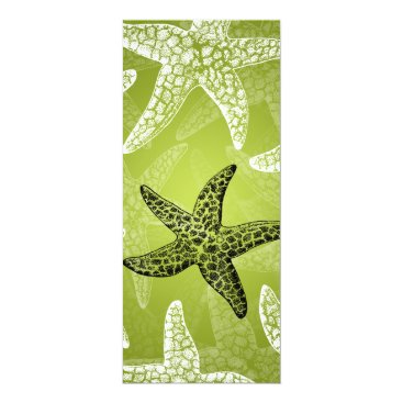 Beach Themed Beach Wedding  Menu Starfish Lime Green Card