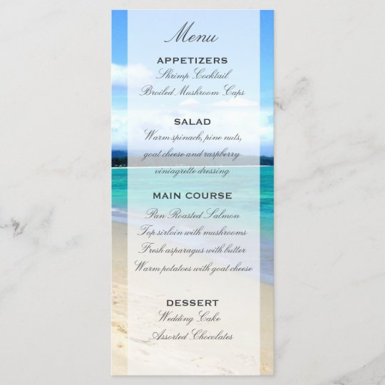 Wedding Menu Template.Beach Wedding Menu Template