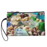 Beach Wedding Mini Clutch Purse Seaglass Shells Wristlet Clutch