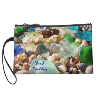 Beach Wedding Mini Clutch Purse Seaglass Shells Wristlets