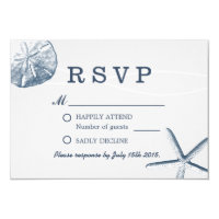 Beach Wedding Minimal Sand Dollar & Starfish RSVP Card