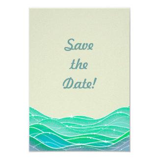 Beach Wedding Modern Ocean Waves Save the Date Card