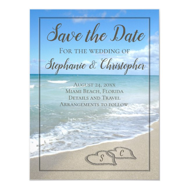 Beach Wedding Monogram Hearts in the Sand Magnetic Invitation