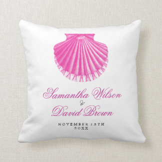 Beach Wedding Names Vintage Scallop Shell Pink Throw Pillow