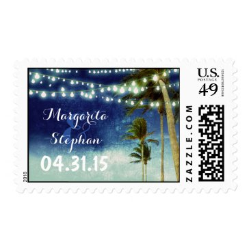 Beach Themed beach wedding navy ombre postage stamps