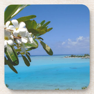 Beach Wedding Ocean Tahiti Flowers Coaster
