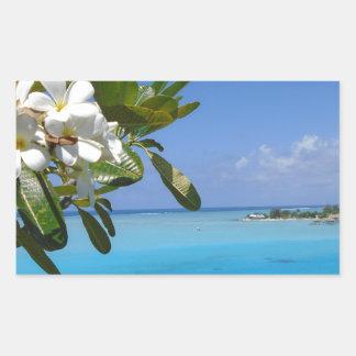 Beach Wedding Ocean Tahiti Flowers Rectangular Sticker