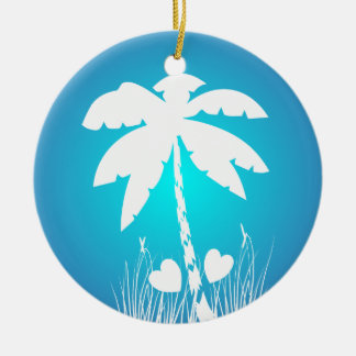 Beach Wedding Palm Tree with two hearts design Christmas Ornament