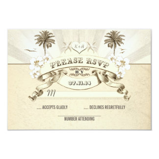 beach wedding palms starfish sun rays wedding RSVP Card