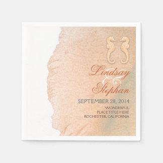 beach wedding paper napkins with seahorses couple
