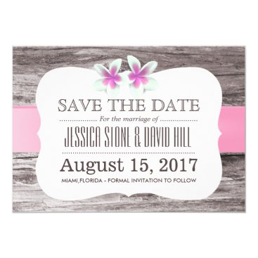 Beach Themed Beach Wedding Pastel Pink Floral Save the Date Card