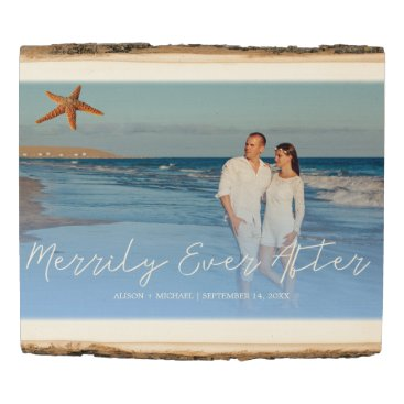 Beach Themed Beach wedding photo keepsake merrily ever after wood panel