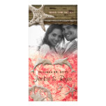 Beach Wedding Photocard Dolphins Coral Shells Personalized Photo Card