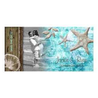 Beach Wedding Photocard Seashell Blue Wood Photo Card