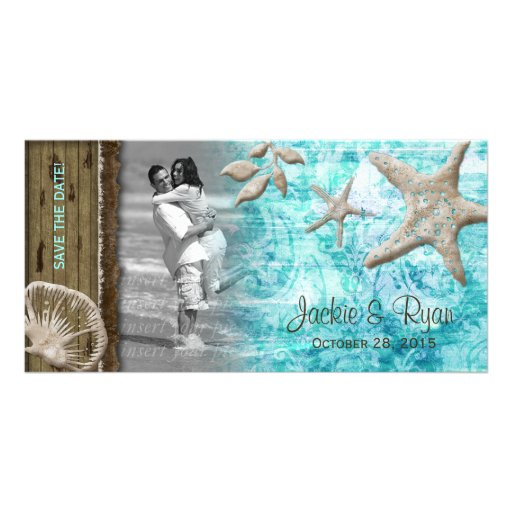 Beach Wedding Photocard Seashell Blue Wood Card