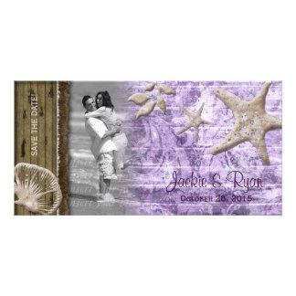 Beach Wedding Photocard Seashell Purple Wood Photo Card