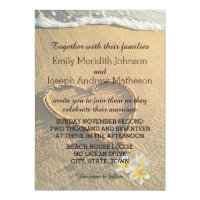 Beach Wedding Plumeria / Frangipani Sand and Sea Card