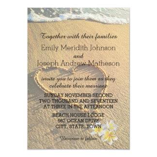 Beach Wedding Plumeria / Frangipani Sand and Sea Card