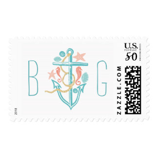 beach wedding postage stamps with anchor