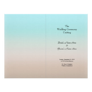 Beach wedding Program Covers in Blue and Brown