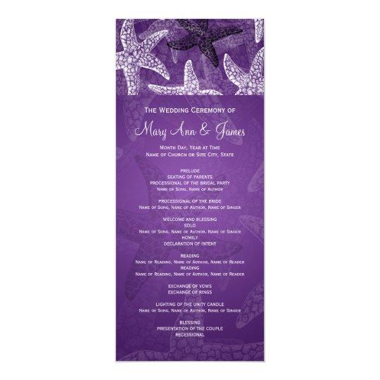 Beach Wedding Program Starfish Purple