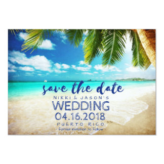 Beach Wedding Puerto Rico Save the Date Card