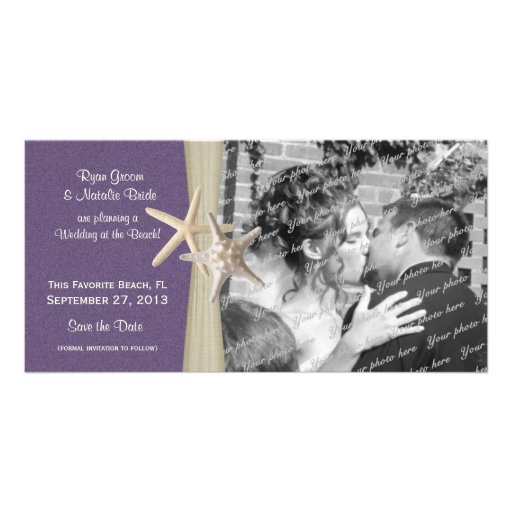 Beach Wedding Purple Save the Date Photo Personalized Photo Card