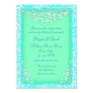 Beach Wedding Reception Aqua and Green Waves Card