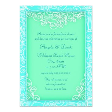 Beach Themed Beach Wedding Reception Aqua and Green Waves Card