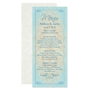 Beach Themed Beach Wedding Reception Menu Cards, Destination Card