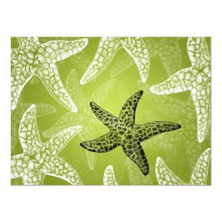 Beach Wedding Reception Starfish Lime Green Card