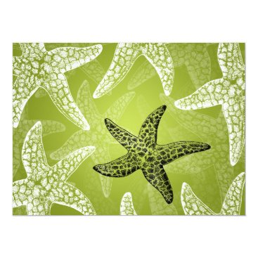 Beach Themed Beach Wedding Reception Starfish Lime Green Card