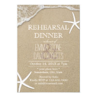 Beach Wedding Rehearsal Dinner Starfish & Waves Card