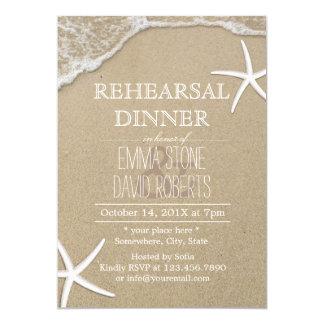 Beach Wedding Rehearsal Dinner Starfish & Waves Card