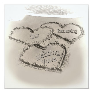 "Beach Wedding Renewal - Sand Hearts-Beach 5.25"" Square Invitation Card"